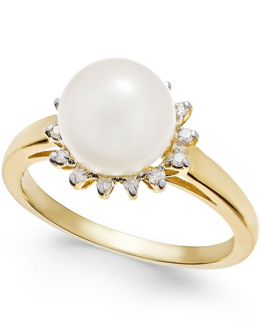 Macy's | Metallic Cultured Freshwater Pearl (8mm) And Diamond (1/10 Ct. T.w.) Ring In 14k Gold | Lyst