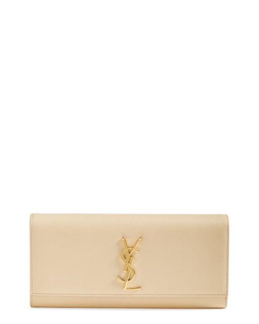 Saint Laurent | Natural 'monogram' Leather Clutch | Lyst