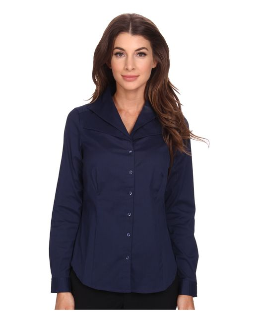 NYDJ   Blue Fit Solution Double Shawl Collared Blouse   Lyst