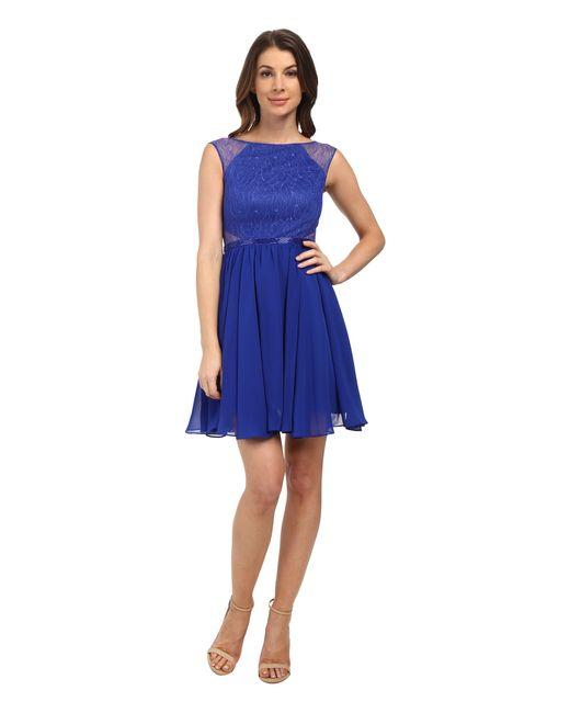 Aidan Mattox | Blue Chiffon Party Dress With Lace Illusion | Lyst