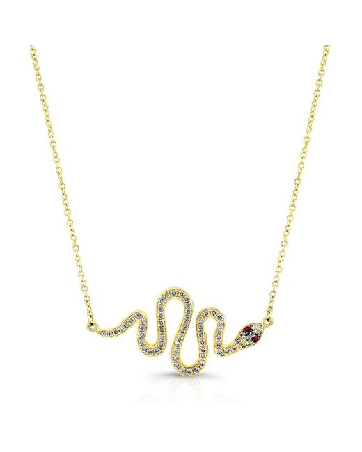 Anne Sisteron | Metallic 14kt Yellow Gold Ruby Eye Diamond Snake Necklace | Lyst
