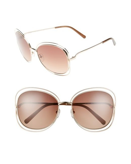 Chloé | 'carlina' 60mm OverRose Gold/ Brown | Lyst