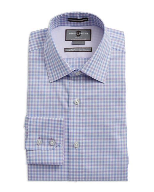 Black brown slim fit plaid dress shirt in purple for men for Brown and black plaid shirt