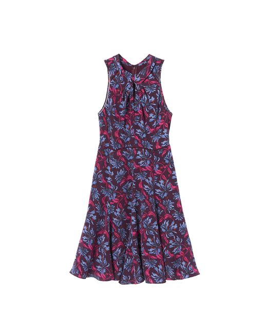 Rebecca Taylor | Purple Printed Mock Neck Dress | Lyst