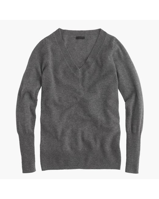 J.Crew | Gray Italian Cashmere V-neck Sweater | Lyst