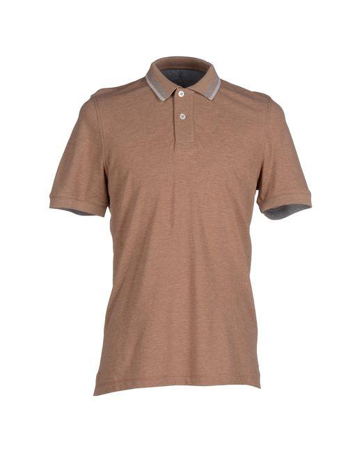 Brunello cucinelli polo shirt in brown for men light for Light brown polo shirt