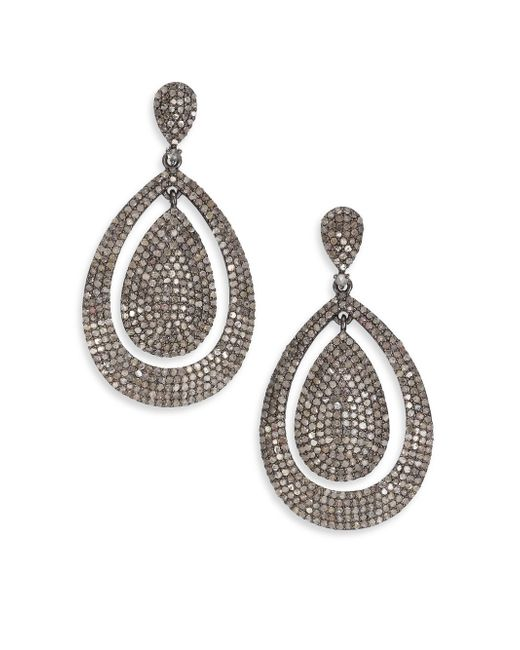 Bavna | Metallic Pavé Diamond & Sterling Silver Drop Earrings | Lyst