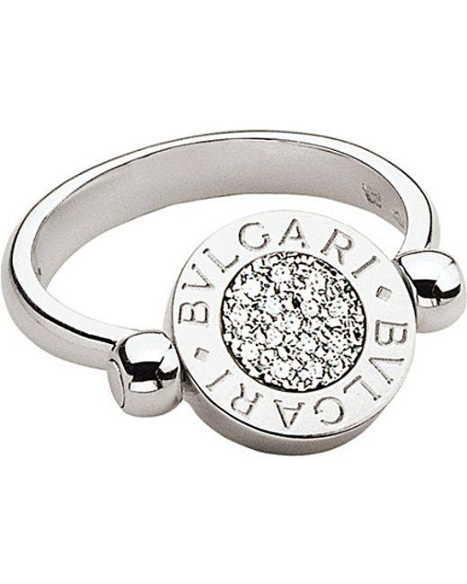 BVLGARI | - 18kt White-gold And Pavé-diamond Flip Ring | Lyst