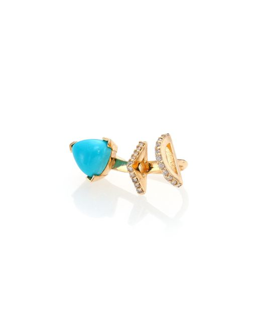 Phyne By Paige Novick | Metallic Marta Turquoise, Diamond & 14K Yellow Gold Single Ear Cuff | Lyst