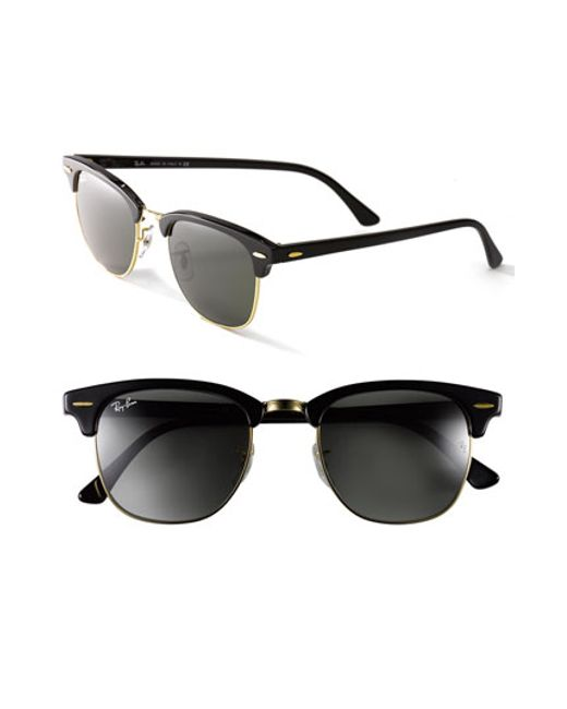 ray ban 39 clubmaster 39 49mm sunglasses in black black gold. Black Bedroom Furniture Sets. Home Design Ideas