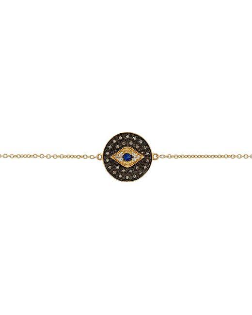 Sydney Evan | Metallic Small Pavã© Diamond Evil Eye Medallion Bracelet | Lyst