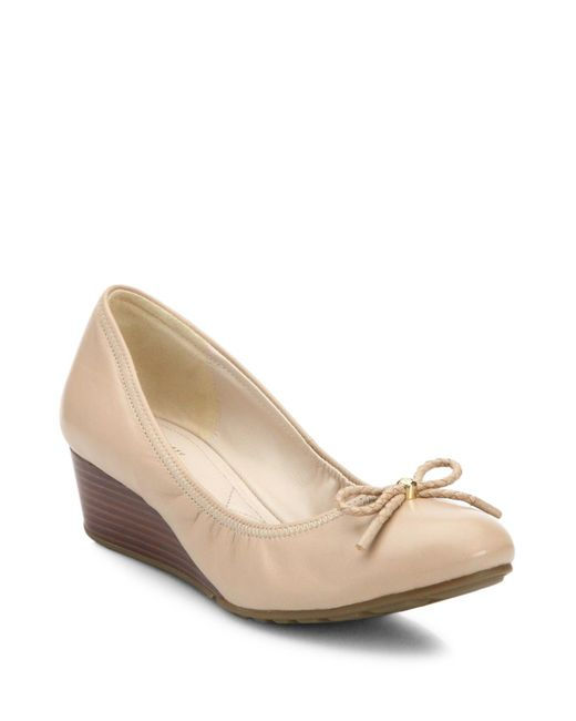 Cole Haan | Natural Tali Grand Leather Wedge Pumps | Lyst