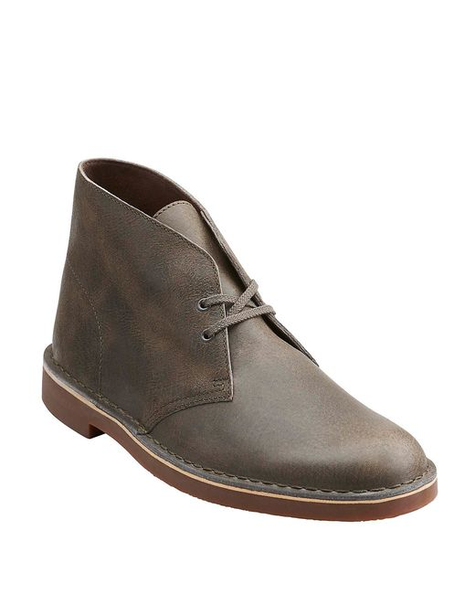 clarks bushacre 2 leather chukka boots in grey for lyst
