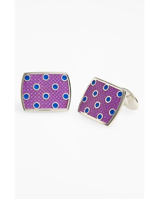David Donahue | Purple Polka Dot Cuff Links for Men | Lyst