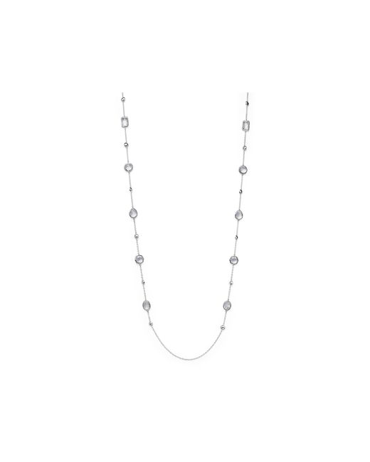 Ippolita | Metallic Sterling Silver Rock Candy Medium Stone With Beads Station Necklace In Clear Quartz, 42"