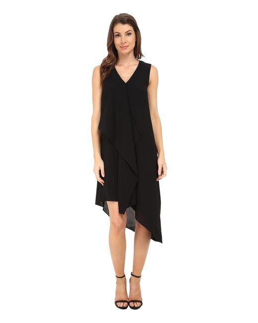 Asymmetric Drape Dress: Adrianna Papell Asymmetrical Front Drape Dress In Black