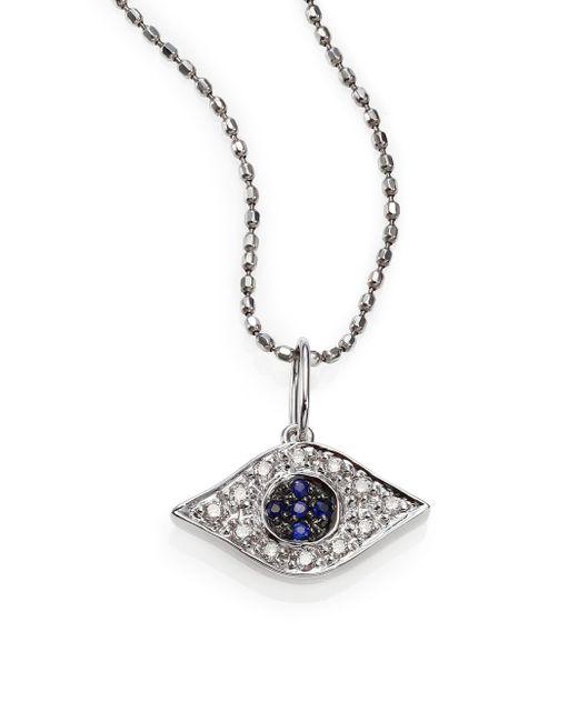 Sydney Evan | Diamond, Sapphire & 14k White Gold Small Evil Eye Pendant Necklace | Lyst