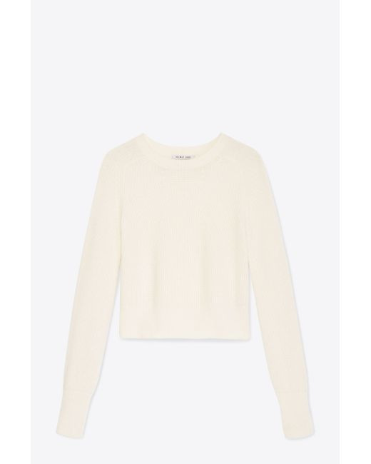 Helmut Lang   White Wool-cashmere Cropped Pullover   Lyst