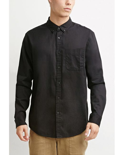 Forever 21 | Black Classic Button-collar Shirt for Men | Lyst