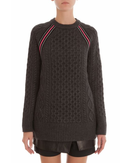 T By Alexander Wang | Gray Cable Knit Jumper | Lyst
