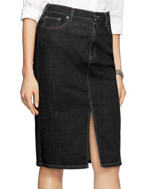 by ralph stretch denim pencil skirt in black