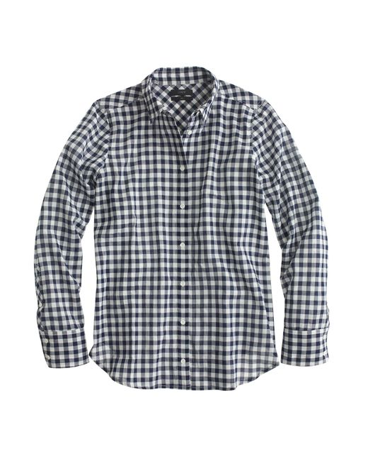 J.Crew | Black Tall Boy Shirt In Crinkle Gingham | Lyst