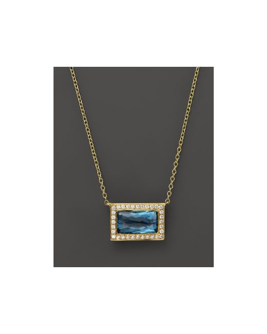 "Ippolita | 18k Gold Gelato Medium Baguette Pendant Necklace In London Blue Topaz With Diamonds, 16"" | Lyst"
