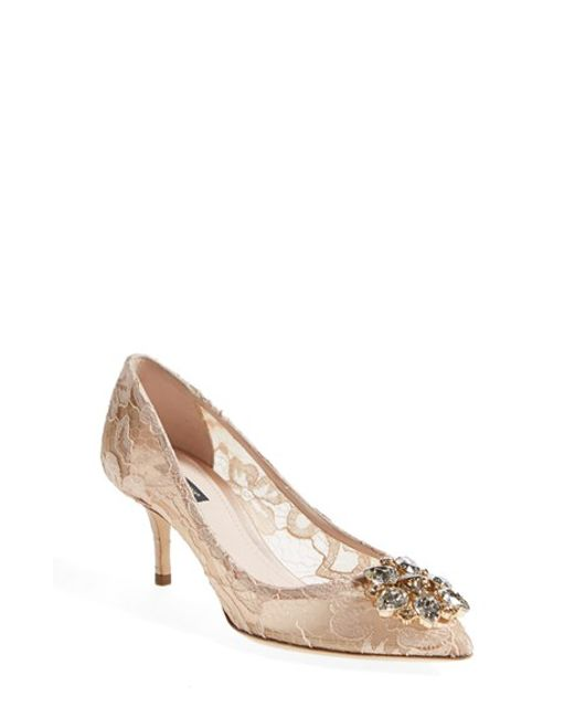 Dolce & Gabbana | Natural Crystal-Embellished Lace Pumps | Lyst