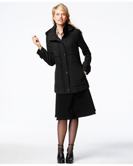 Kenneth Cole | Black Seamed Hooded Babydoll Coat | Lyst