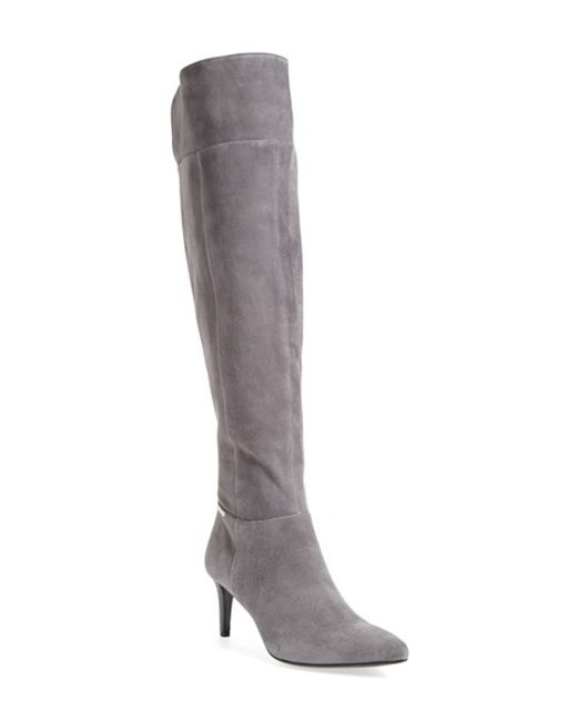 calvin klein clancey the knee boot in gray shadow