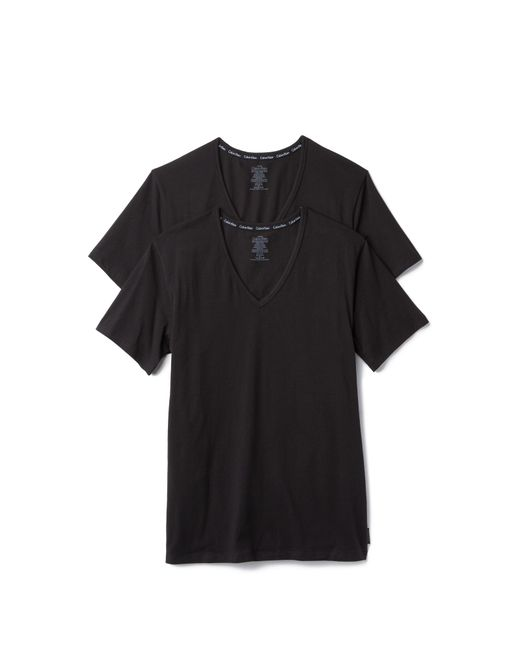 Calvin Klein | Black Ck 2 Pack Modern Cotton Stretch V Neck Tee for Men | Lyst