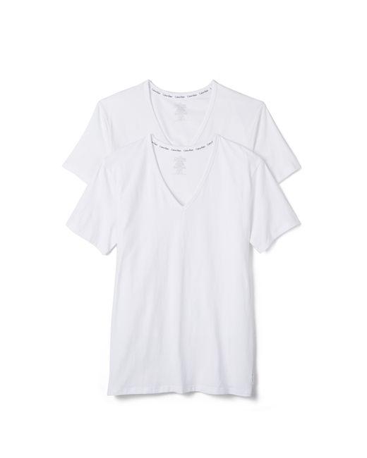 Calvin Klein | White Ck 2 Pack Modern Cotton Stretch V Neck Tee for Men | Lyst