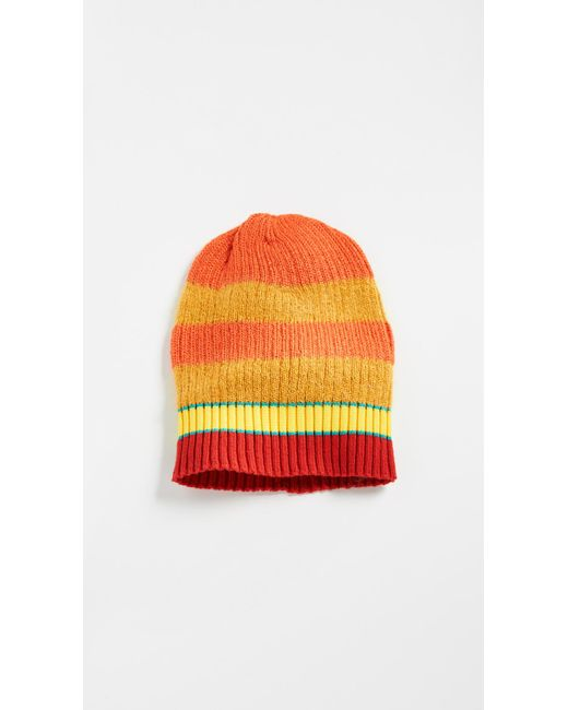 KENZO - Orange Stripy Cable Wool Beanie for Men - Lyst