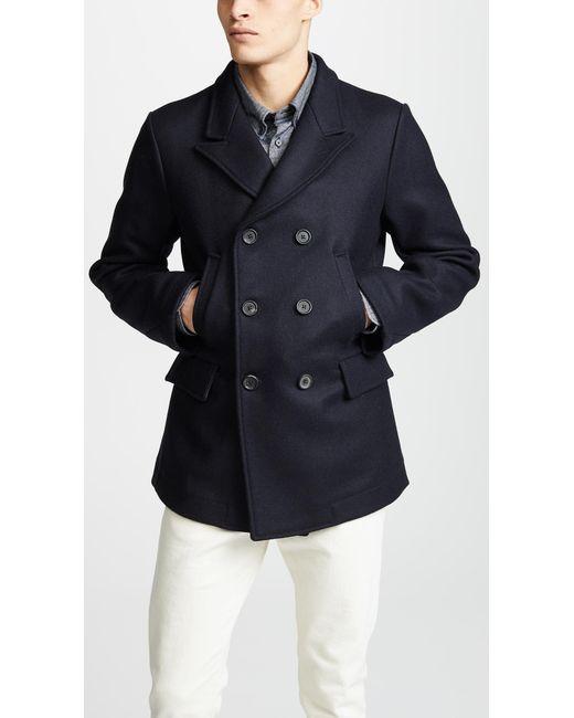 Billy Reid - Blue Bond Wool Blend Peacoat for Men - Lyst