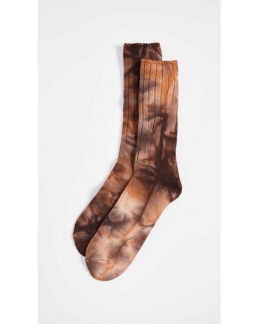 Anonymous Ism - Orange Uneven Dye Crew Socks for Men - Lyst