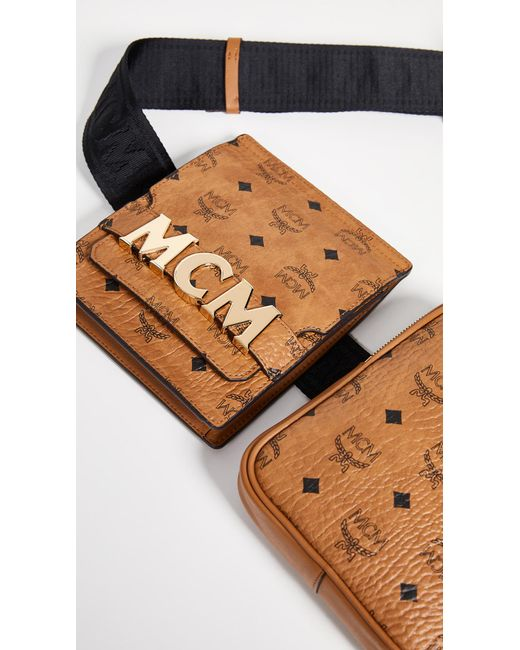8dcc891594c5 ... MCM - Brown Stark Double Logo Belt Bag (cognac) Day Pack Bags for Men  ...