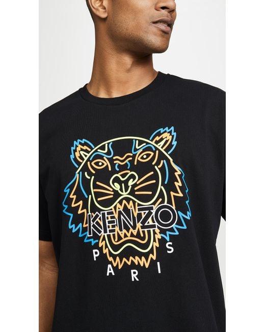 0dd04f0b ... KENZO - Black Neon Tiger T-shirt for Men - Lyst ...