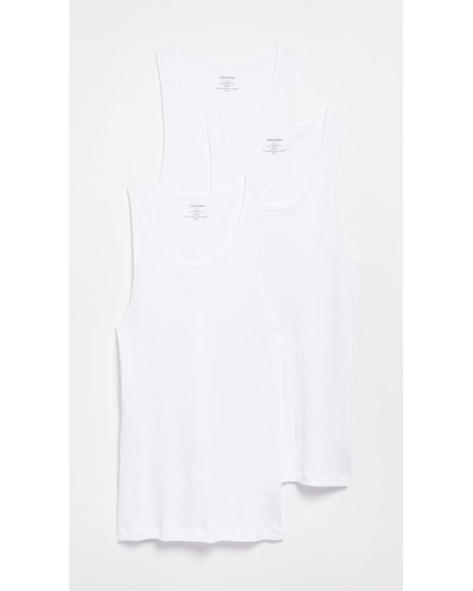 Calvin Klein - White Cotton Classic 3 Pack Ribbed Tanks for Men - Lyst