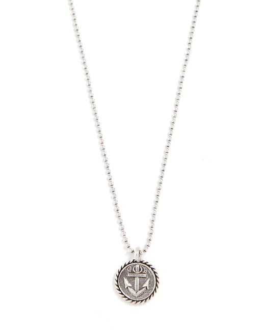 Giles & Brother - Metallic Ball Chain Necklace With Anchor Charm for Men - Lyst