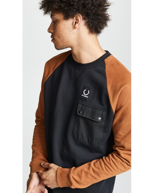 Fred Perry - Black Colorblock Sweatshirt for Men - Lyst