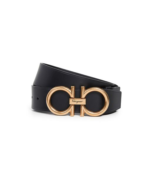 b433de2a62223 ... Ferragamo - Black Men s Double-gancio Runway Leather Belt for Men - Lyst