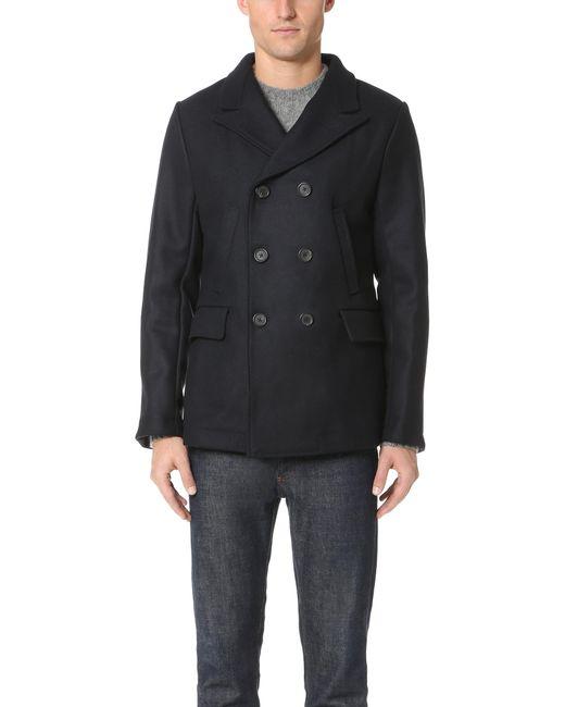 Billy Reid   Blue Wool Peak Lapel Pea Coat for Men   Lyst
