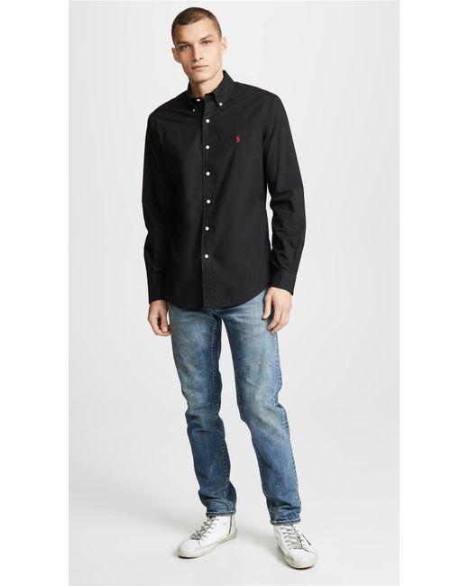 e448f00c3 ... Polo Ralph Lauren - Black Slim Stretch Poplin Shirt for Men - Lyst ...