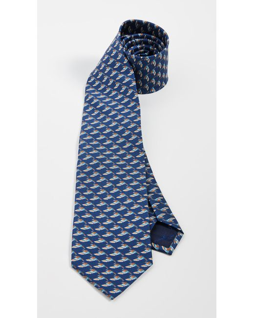 Ferragamo Blue Mallard Printed Tie for men