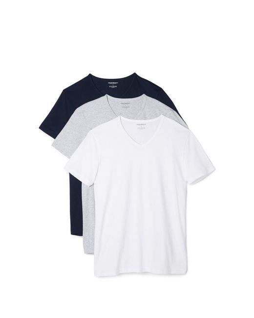 Emporio Armani - Gray 3 Pack Genuine Cotton V Neck Tees for Men - Lyst