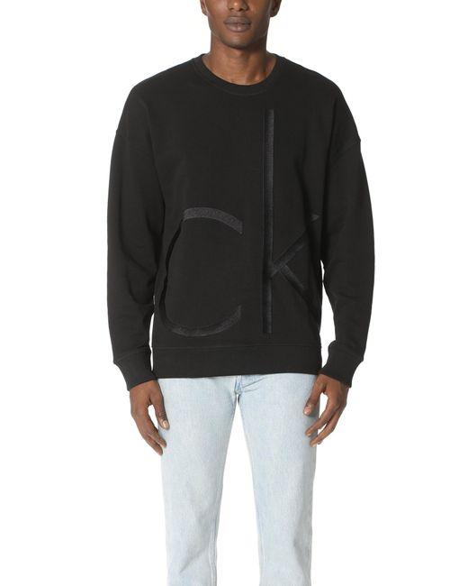 Calvin Klein Jeans   Black Embroidered Logo Sweatshirt for Men   Lyst