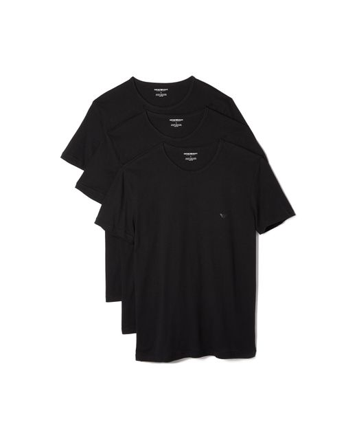 Emporio Armani - Black 3 Pack Genuine Cotton Crew Neck Tees for Men - Lyst