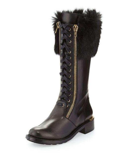 Ferragamo Lapo Fur Cuff Combat Boot In Black Save 58 Lyst