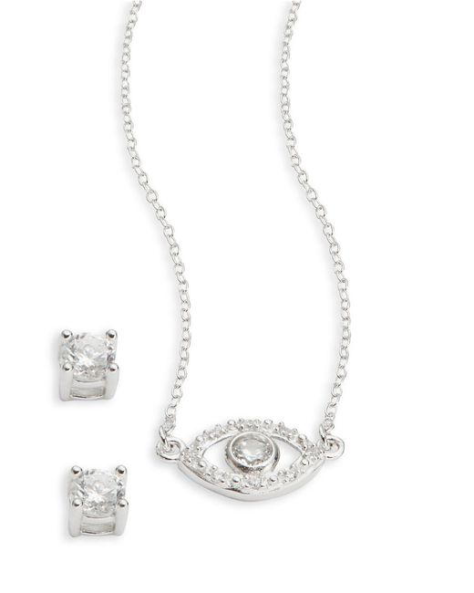Lord & Taylor | Metallic Sterling Silver And Cubic Zirconia Evil Eye Earring And Necklace Set | Lyst