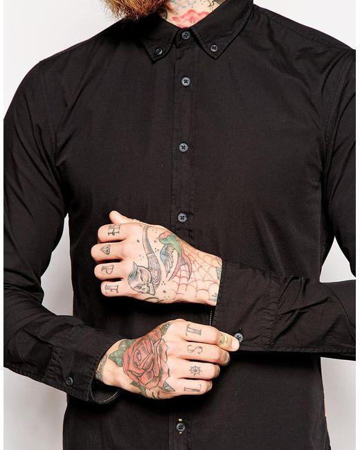 Boss Orange Poplin Cotton Shirt With Button Down In Black